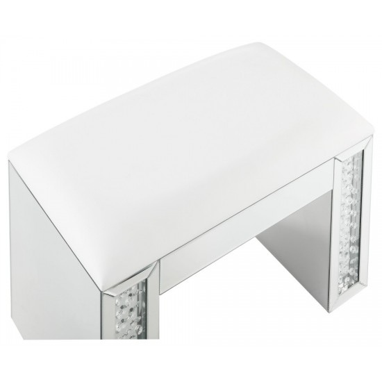 ACME Nysa Vanity Stool, Ivory PU, Mirrored & Faux Crystals
