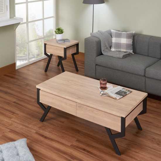 ACME Kalina End Table, Rustic Natural & Black