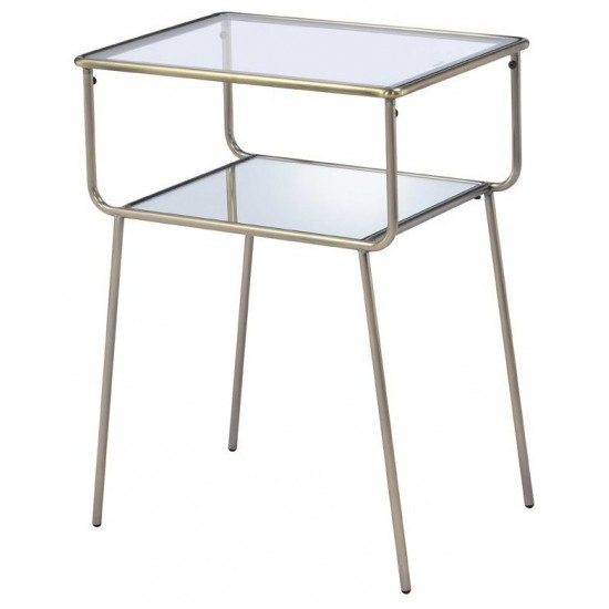 ACME Rhodie End Table, Antique Gold, Mirror & Clear Glass