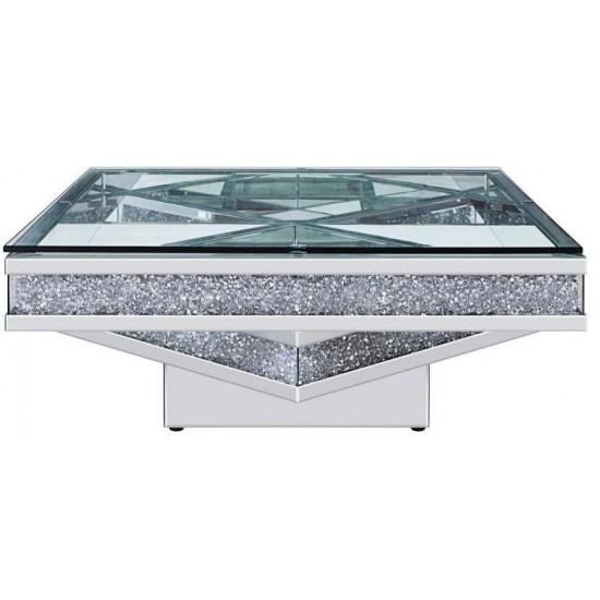 ACME Noralie Coffee Table, Mirrored & Faux Diamonds