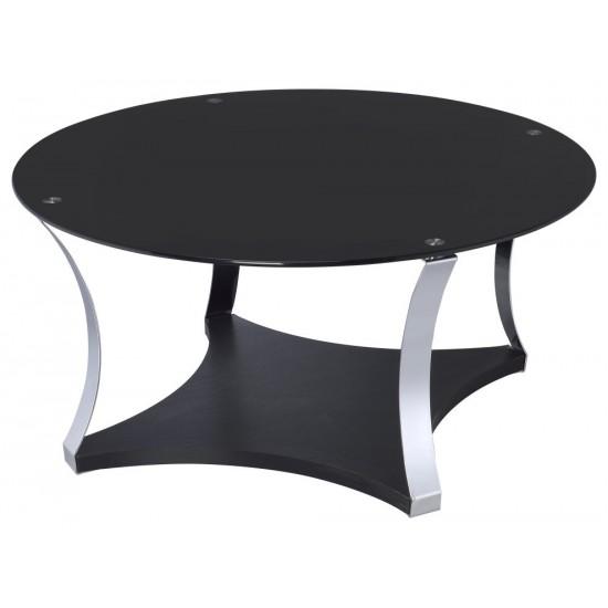 ACME Geiger Coffee Table, Chrome & Black Glass