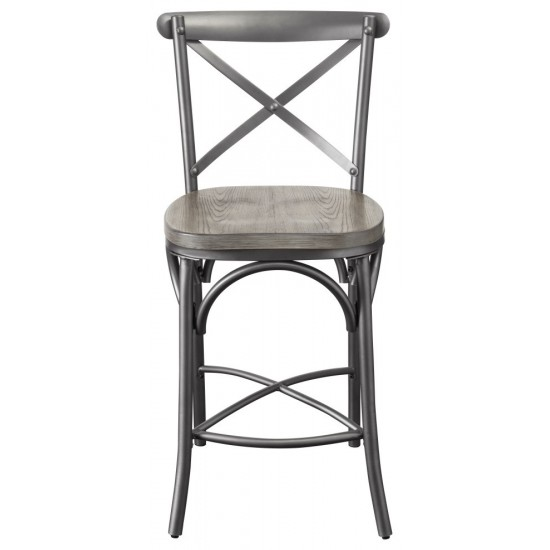 ACME Kaelyn II Counter Height Chair (Set-2), Gray Oak & Sandy Gray