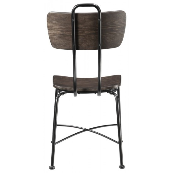 ACME Garron Side Chair (Set-2), Walnut & Black