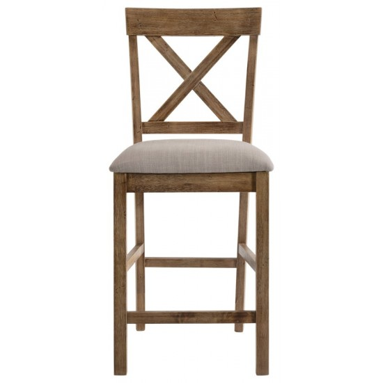 ACME Martha II Counter Height Chair (Set-2), Tan Linen & Weathered Oak