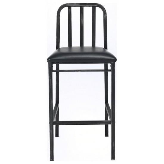 ACME Jodie Bar Chair (Set-2), Black PU & Antique Black