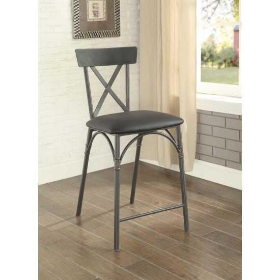ACME Itzel Counter Height Chair (Set-2), Black PU & Sandy Gray