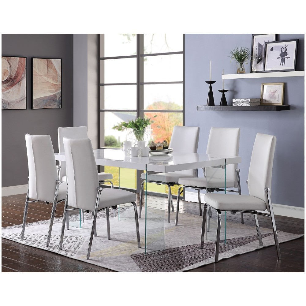 ACME Noland - Dining Table, White High Gloss & Clear Glass