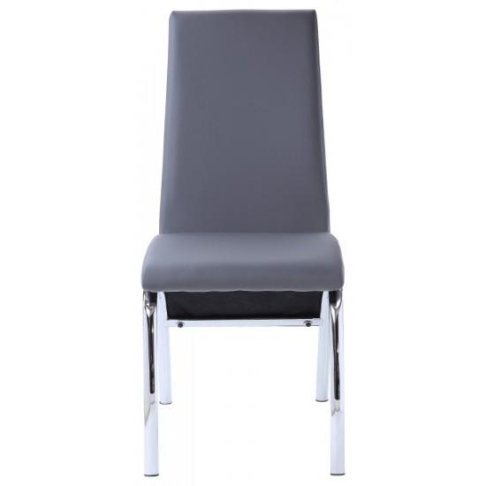 ACME Noland Side Chair (Set-2), Gray PU & Chrome (2Pc/1Ctn)