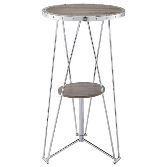 ACME Jarvis Bar Table, Gray Oak & Chrome
