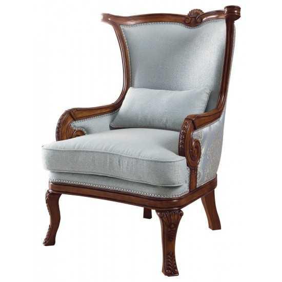 ACME Darian Accent Chair & Pillow, Light Blue Fabric & Oak