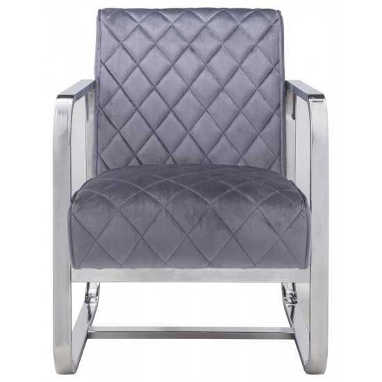 ACME Tasmine Accent Chair, Gray Velvet & Chrome