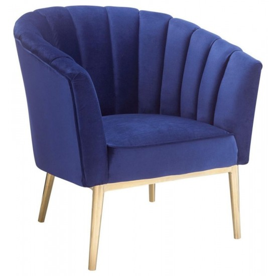 ACME Colla Accent Chair, Midnight Blue Velvet & Gold