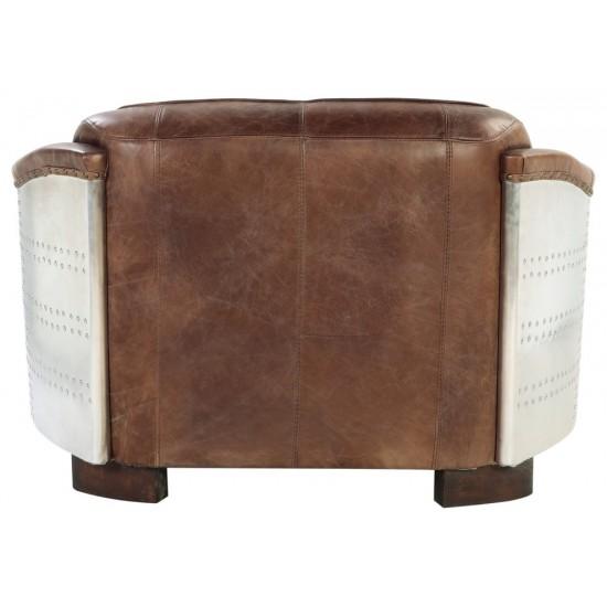 ACME Brancaster Loveseat, Retro Brown Top Grain Leather & Aluminum