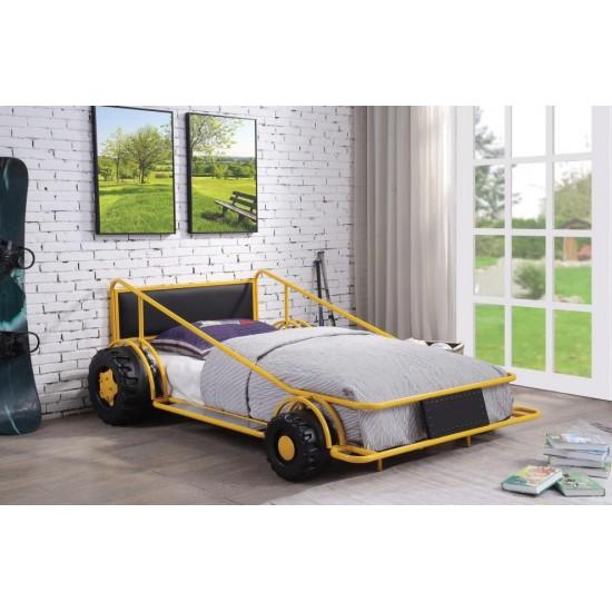 ACME Taban Twin Bed, Yellow & Black PU