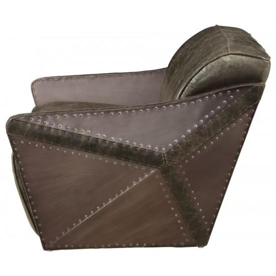 ACME Winchester Loveseat, Aluminum & Distress Espresso Top Grain Leather