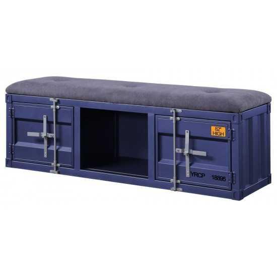 ACME Cargo Bench (Storage), Gray Fabric & Blue