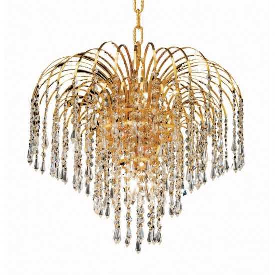 Elegant Lighting Falls 6 Light Gold Pendant Clear Elegant Cut Crystal