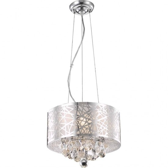 Elegant Lighting Prism 3 Light Chrome Pendant Clear Royal Cut Crystal