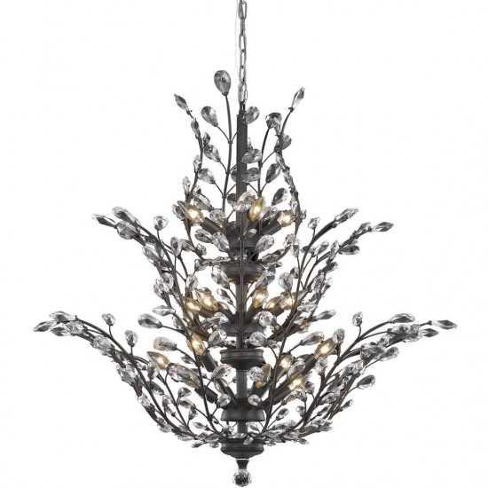 Elegant Lighting Orchid 18 Light Dark Bronze Chandelier Clear Elegant Cut Crystal