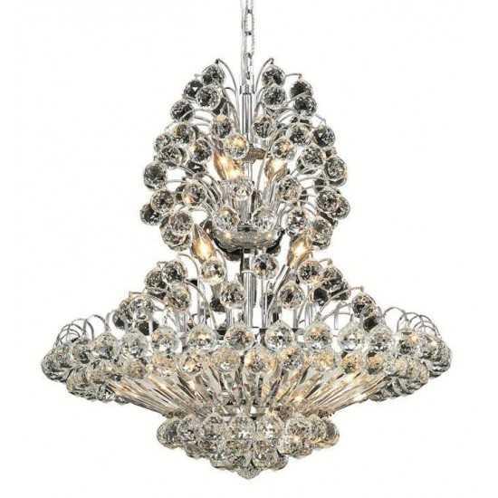 Elegant Lighting Sirius 14 Light Chrome Chandelier Clear Spectra Swarovski Crystal