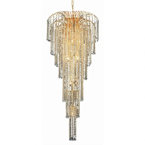 Elegant Lighting Falls 11 Light Gold Chandelier Clear Elegant Cut Crystal