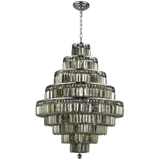 Elegant Lighting Maxime 20 Light Chrome Chandelier Golden Teak (Smoky) Swarovski Elements Crystal