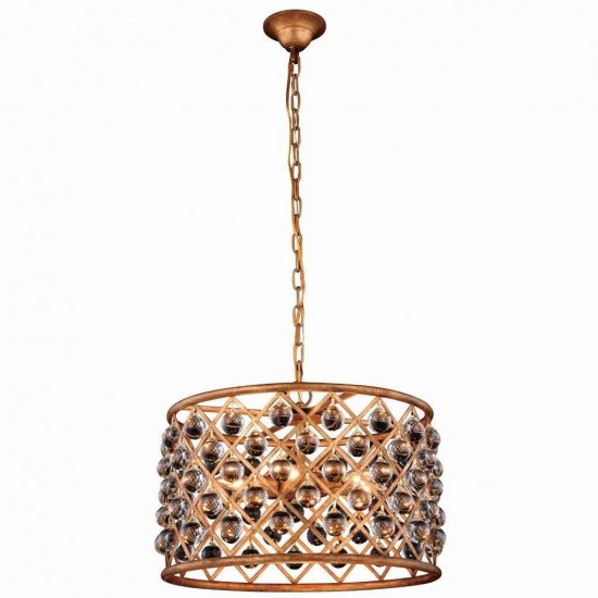 """Elegant Lighting 20"""" Pendant Lamp with 6 E12 Light Bulbs and Royal Cut Clear Crystal Trim in Golden Iron Finish"""