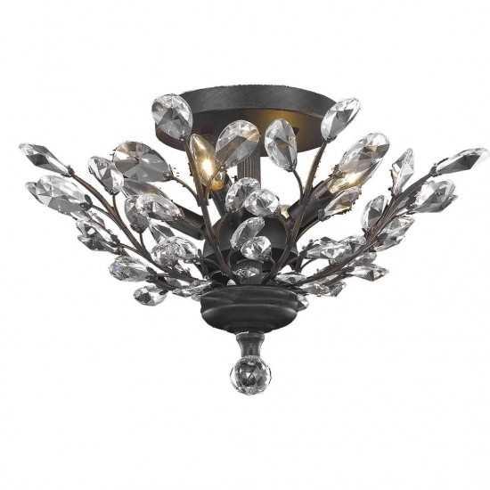 Elegant Lighting Orchid 4 Light Dark Bronze Flush Mount Clear Elegant Cut Crystal