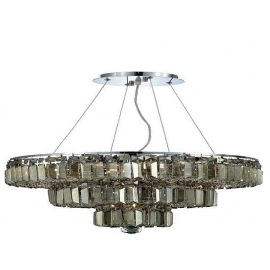 Elegant Lighting Maxime 9 Light Chrome Chandelier Golden Teak (Smoky) Royal Cut Crystal