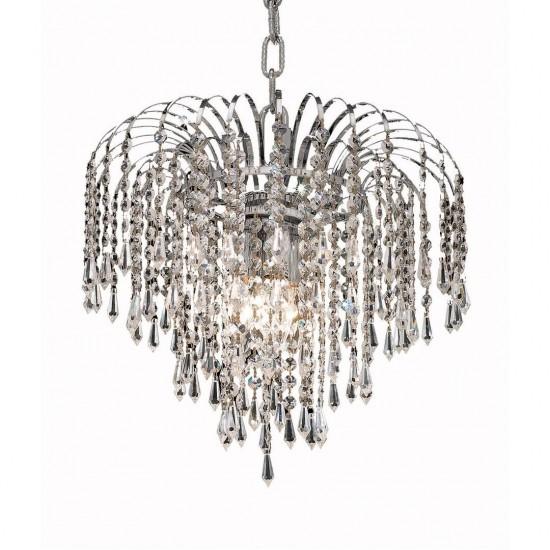 Elegant Lighting Falls 3 Light Chrome Pendant Clear Spectra Swarovski Crystal