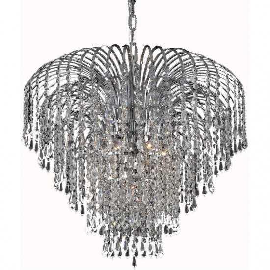 Elegant Lighting Falls 6 Light Chrome Chandelier Clear Royal Cut Crystal