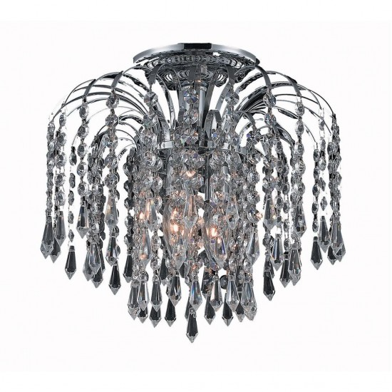 Elegant Lighting Falls 3 Light Chrome Flush Mount Clear Swarovski Elements Crystal