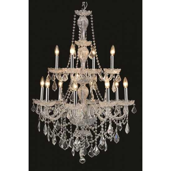 Elegant Lighting Giselle 12 Light Chrome Chandelier Clear Royal Cut Crystal