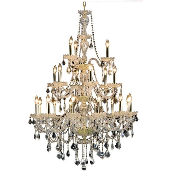 Elegant Lighting Giselle 21 Light Gold Chandelier Clear Royal Cut Crystal
