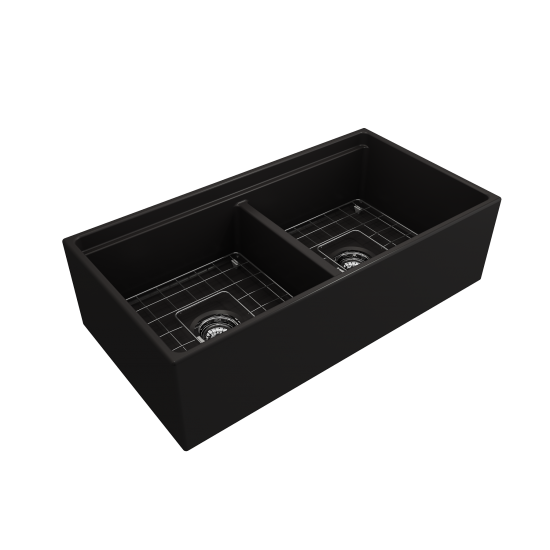 Apron Front Step Rim with Integrated Work Station Fireclay 36 in. Double Bowl Kitchen Sink with Accessories in Matte Black