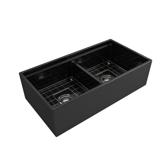 Contempo Apron Front Step Rim with Integrated Work Station Fireclay 36 in. Double Bowl Kitchen Sink with Accessories in Black