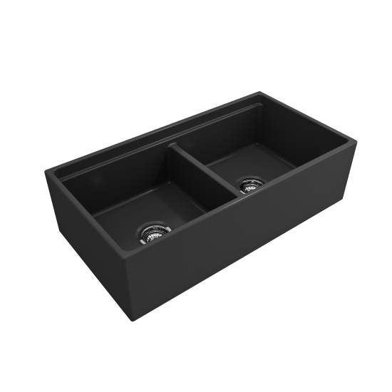 Apron Front Step Rim with Integrated Work Station Fireclay 36 in. Double Bowl Kitchen Sink with Accessories in Matte Dark Gra