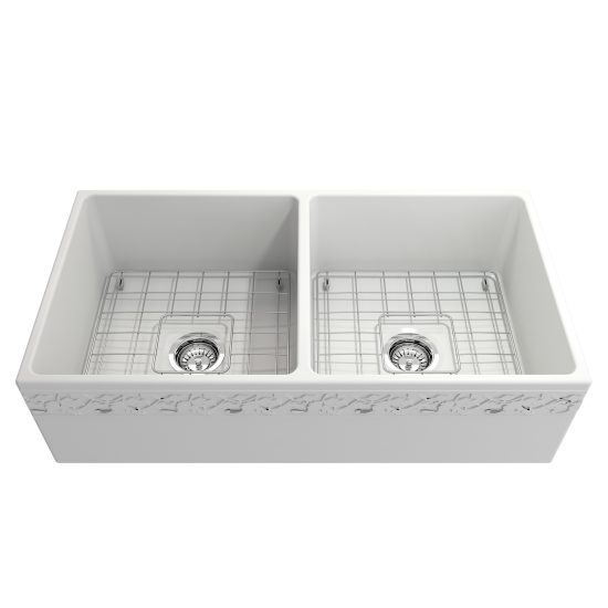 Vigneto Apron Front Fireclay 36 in. Double Bowl Kitchen Sink with Protective Bottom Grids and Strainers in Matte White
