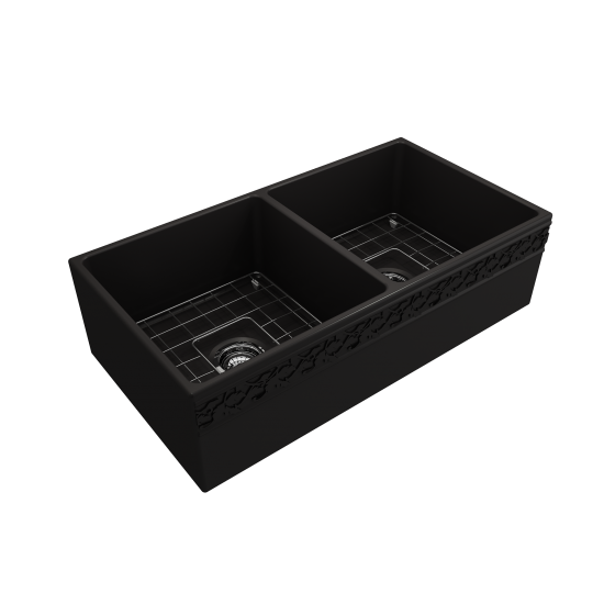 Vigneto Apron Front Fireclay 36 in. Double Bowl Kitchen Sink with Protective Bottom Grids and Strainers in Matte Black