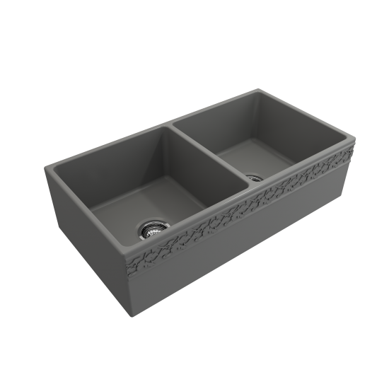 Vigneto Apron Front Fireclay 36 in. Double Bowl Kitchen Sink with Protective Bottom Grids and Strainers in Matte Gray