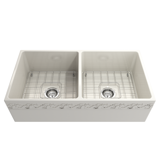 Vigneto Apron Front Fireclay 36 in. Double Bowl Kitchen Sink with Protective Bottom Grids and Strainers in Biscuit