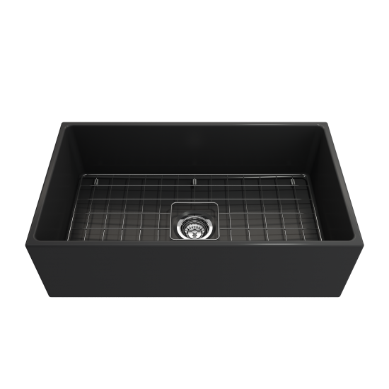 Contempo Apron Front Fireclay 33 in. Single Bowl Kitchen Sink with Protective Bottom Grid and Strainer in Matte Dark Gray