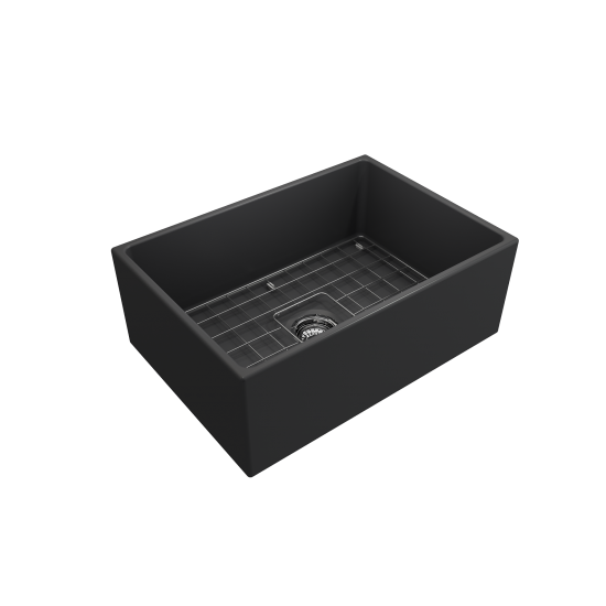 Contempo Apron Front Fireclay 27 in. Single Bowl Kitchen Sink with Protective Bottom Grid and Strainer in Matte Dark Gray