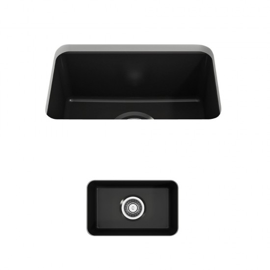 Sotto Dual Mount Fireclay 12 in. Single Bowl Bar Sink with Strainer in Matte Black