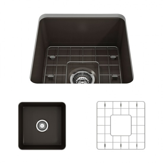 Sotto Dual-Mount Fireclay 18 in. Single Bowl Bar Sink with Protective Bottom Grid and Strainer in Matte Brown