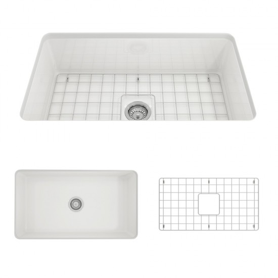 Sotto Undermount Fireclay 32 in. Single Bowl Kitchen Sink with Protective Bottom Grid and Strainer in White