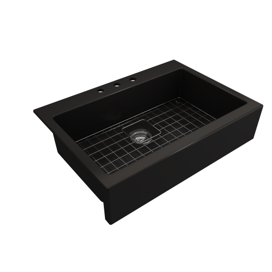 Nuova Apron Front Drop-In Fireclay 34 in. Single Bowl Kitchen Sink with Protective Bottom Grid and Strainer in Matte Black