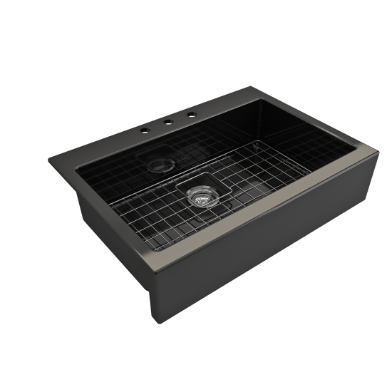 Nuova Apron Front Drop-In Fireclay 34 in. Single Bowl Kitchen Sink with Protective Bottom Grid and Strainer in Black