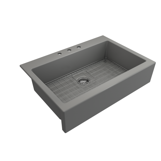 Nuova Apron Front Drop-In Fireclay 34 in. Single Bowl Kitchen Sink with Protective Bottom Grid and Strainer in Matte Gray