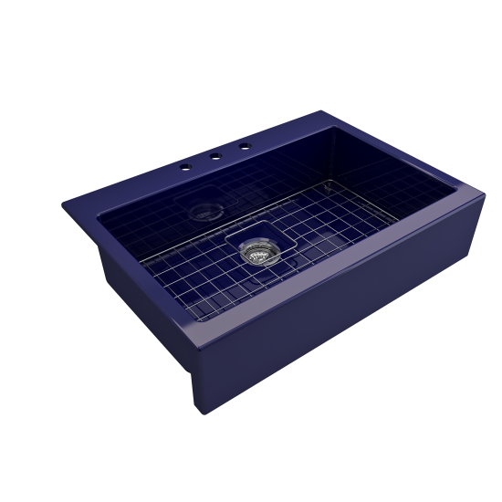 Nuova Apron Front Drop-In Fireclay 34 in. Single Bowl Kitchen Sink with Protective Bottom Grid and Strainer in Sapphire Blue